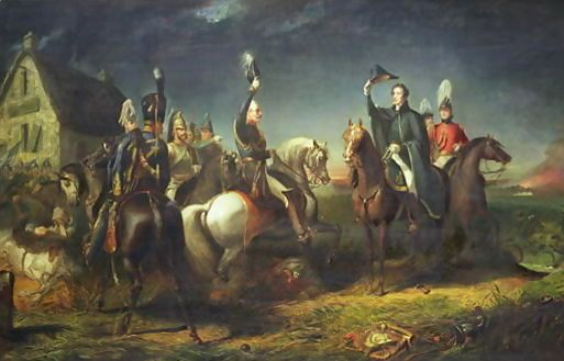 The-Meeting-Of-The-Duke-Of-Wellington-And-Field-Marshal-Blucher-On-The-Evening-Of-The-Victory-Of-Waterloo-At-La-Belle-Alliance