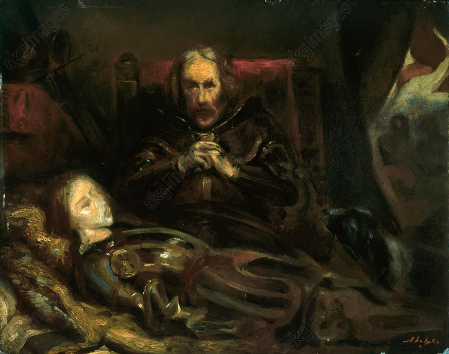 """1-E1834-E1388-1DE:""""Eberhard II. Graf von WŸrttemberg beweint seinen Sohn, derEberhard II. von Wttbg. beweint s. SohnEberhard II.,der Greiner,Graf v.WŸrttem- berg (1344-92);1315-1392. / - """"Eberhard II. Graf von WŸrttemberg beweint seinen Sohn, der in der Schlacht bei Dšffingen starb"""". - (Erster StŠedtekrieg 1388/89; Schlacht b.Dšffingen,23.8.1388: Eberhard II. siegt Ÿber d.SchwŠb. StŠdtebund; Tod seines Sohnes Ulrich). / Gem.,1824,v.Ary Scheffer(1795-1858). / …l/Lwd,22x28,5cm.St.Petersburg, Staatliche Ermitage.Photo: akg-images"""