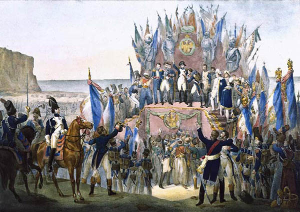 a-depiction-of-napoleon-making-some-of-the-first-awards-of-the-legion-of-honour-at-a-camp-near-boulogne-on-16-august-1804