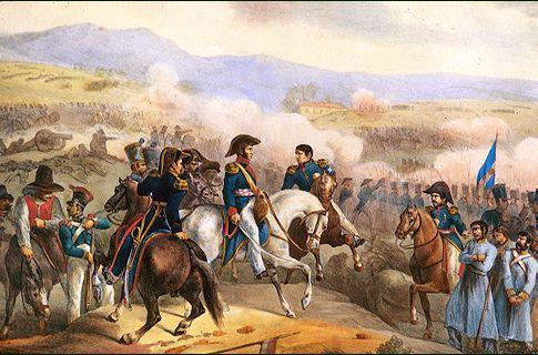 Batalla de Maipo. Litografía coloreada. c.1819.